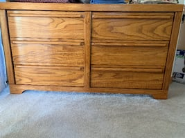 Oak Dresser & Two Night Stands For Sale