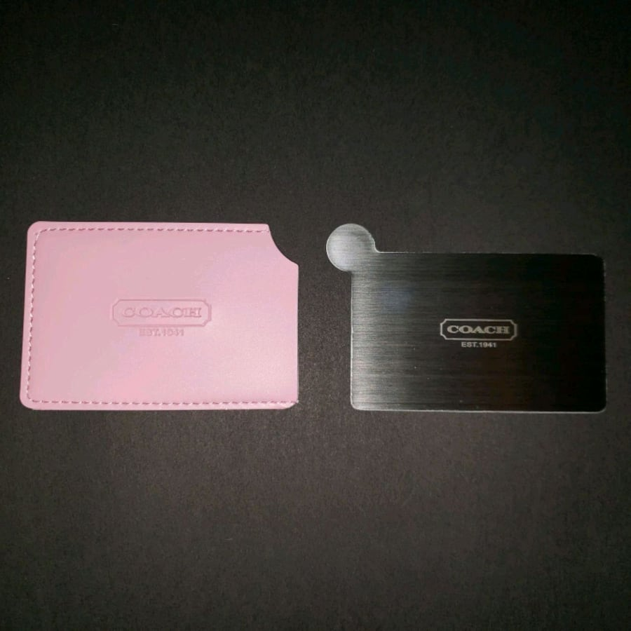 New Coach Pocket Mirror Pink Leather Sleeve