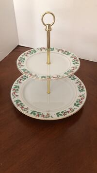 Two tier Christmas serving plates