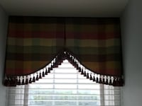 red and green gingham tasseled window curtain Damascus, 20872