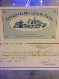 Gift Certificate to Antietam Overlook Farm -  Good for One Night Bethesda, 20814