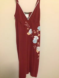 women's red floral spaghetti strap dress