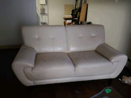 Creme Leather Couch Set