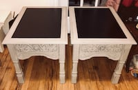 Pair of french linen gray carved front look black leather top end tables Kensington, 20895