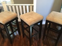 3 barstools wooden legs and upholstered cream seats Frederick, 21702