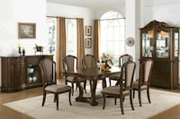 BROWN CHERRY FINISH 7 PIECE FORMAL DINING TABLE SE Rancho Cucamonga