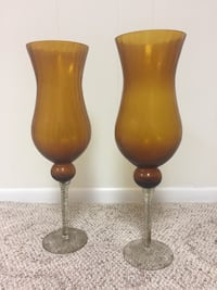 Hand Blown Amber colored Crackle Vases. Like New 33 mi