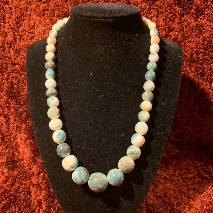 Genuine Tree Agate Beaded Necklace c12a4588-0b4d-482a-9c2d-772e56a042bf