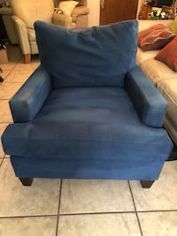 blue fabric sofa chair with ottoman Fort Myers, 33905