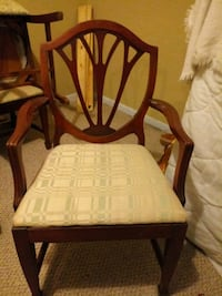 Arm chair and five cherrywood side chsirs.   Beaumont