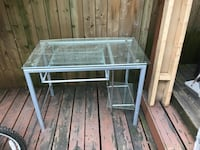 rectangular clear glass top table with gray metal base Toronto, M6G