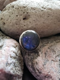 925 Sterling Silver Natural Labradorite Ring!  Size 8.5 Burlington
