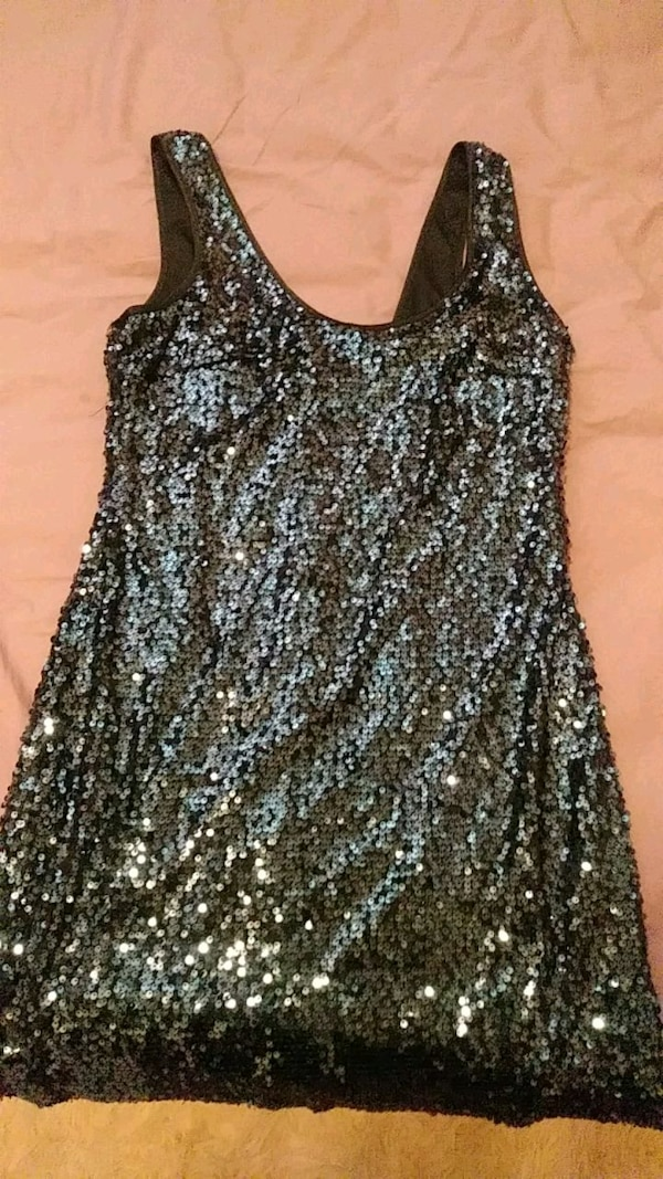 Blueish Gray Sequin Body Con Dress