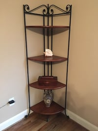 Brown wooden 4-layer corner shelf. Nicely made. Iron and wood. Simpsonville, 29680