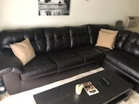 black leather sectional sofa with ottoman LOSANGELES