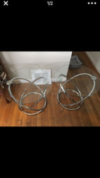 BRAND NEW glass and metal side tables