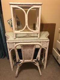 White Wicker Desk and Nightstand/Side Table