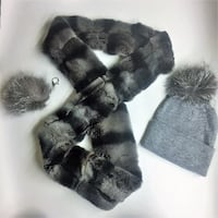 three gray fur bobble cap, scarf ,and keychain