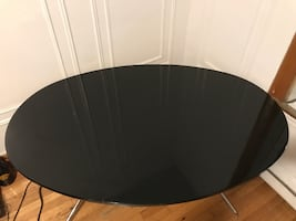 Black oval table