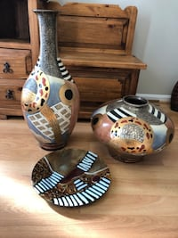 Print decorative vase & plate SET
