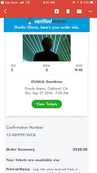 Donald glover/childish gambino & rae sremmurd floor seats oakland california oracle arena sept, 27 2018 Oakland
