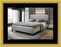 Grey platform bed with mattress 46 km