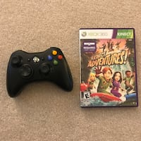 Xbox 360 wireless controller black and kinect adventures video game Burtonsville, 20866