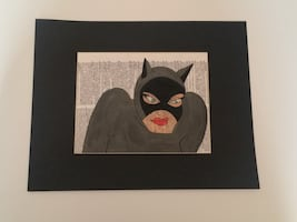 Matted cat woman book art painting