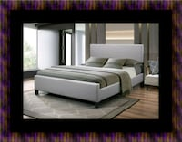 Grey platform bed with mattress Fairfax