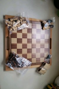 Travel wooden checker/chess board game