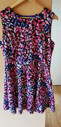 Pink, black, and blue floral sleeveless dress Meadowbank, 2114