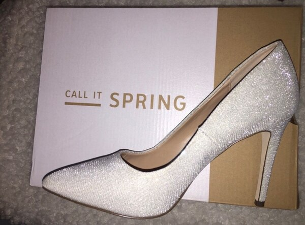 Call it spring silver heels size 8 2
