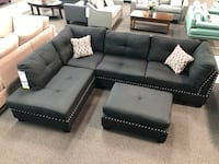 black leather sectional couch with ottoman Los Angeles, 90033