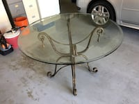 Wrought Iron Glass Top Table Parrish, 34219