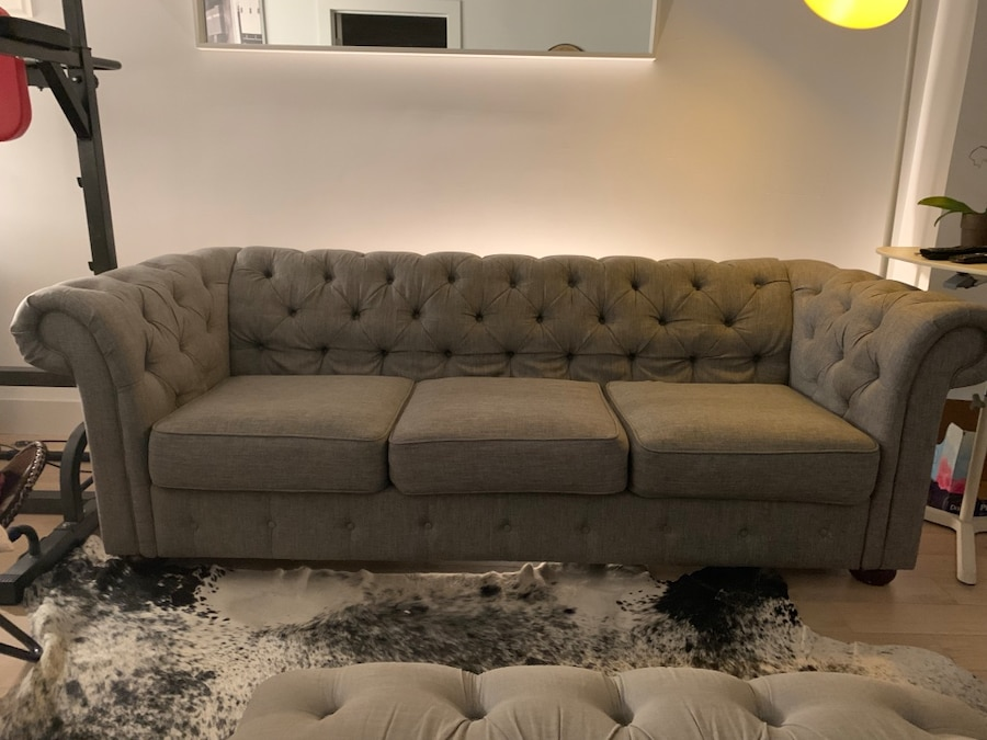 used tufted gray suede 3 seat sofa for sale in new york letgo rh us letgo com