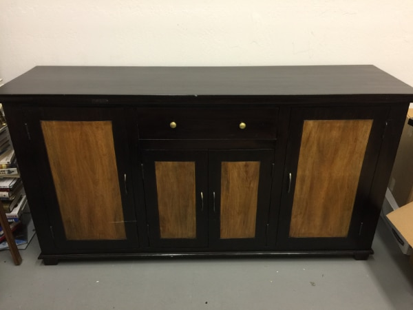 Credenza Dark Brown : Used hutch buffet cabinet credenza sideboard dark brown wood for