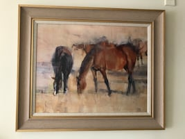 Horses painting with frame