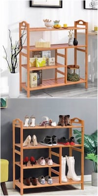 New in box 27x11x30 inches bamboo muti-purpose 4 tiers stand organize shoe rack Los Angeles, 90032