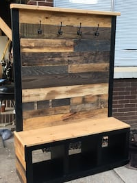 Stylish bench with cubby holes and clothing hooks