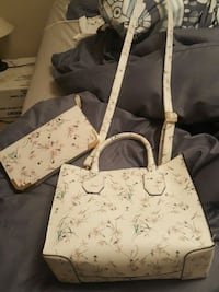 white and brown monogram Louis Vuitton leather tote bag Medicine Hat