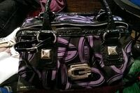black and purple leather shoulder bag 3139 km