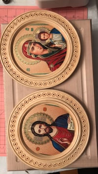 """Icons set. Brand new from Ukraine. Hand made wood work. Dimension 7""""  great gift for firs communion and new home ownership. Perfect gift for the ones that don't have a unique icons Toronto, M8Y 1N7"""