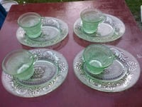Green Depression glass 4 cups for saucers Channelview, 77530