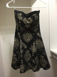 Petite Size Strapless Black and Gold Dress