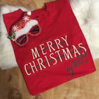 """Christmas """"Y'all"""" T-Shirt -Large"""