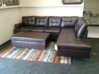 Brand New brown leather sectional sofa w/ ottoman Norfolk, 23503
