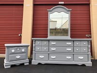 Solid Wood Long Dresser With Mirror and Nightstand Gray With White Handles  Woodbridge, 22192