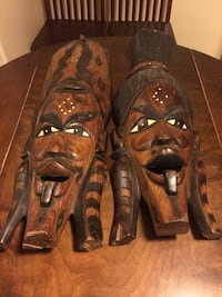African masks King and Queen mahogany wood Greenbelt, 20770