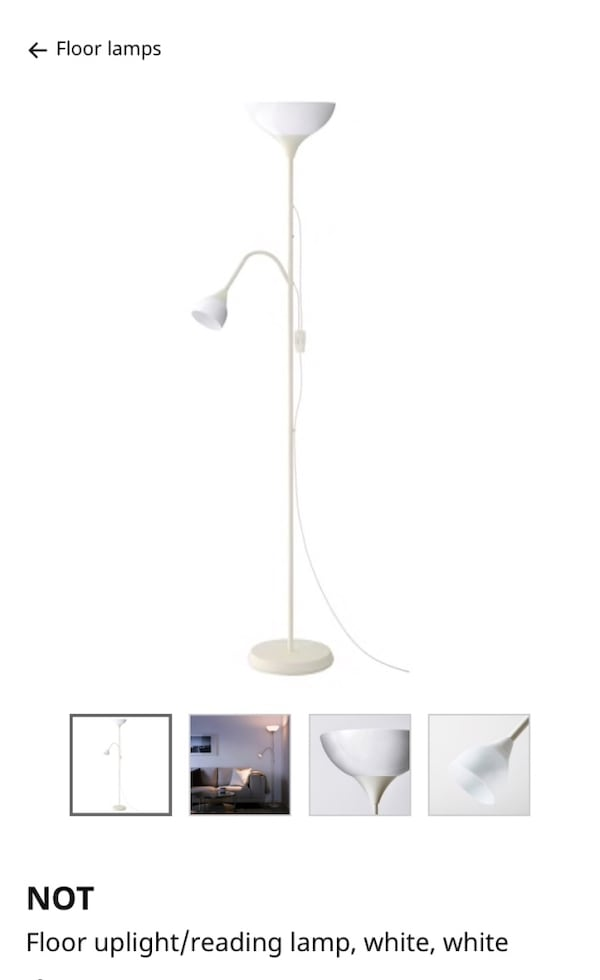 Used White Floor Uplight Reading Light Floor Lamp New For Sale In