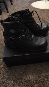 Pair of black leather Harley boots size 10 Pricedale, 15012